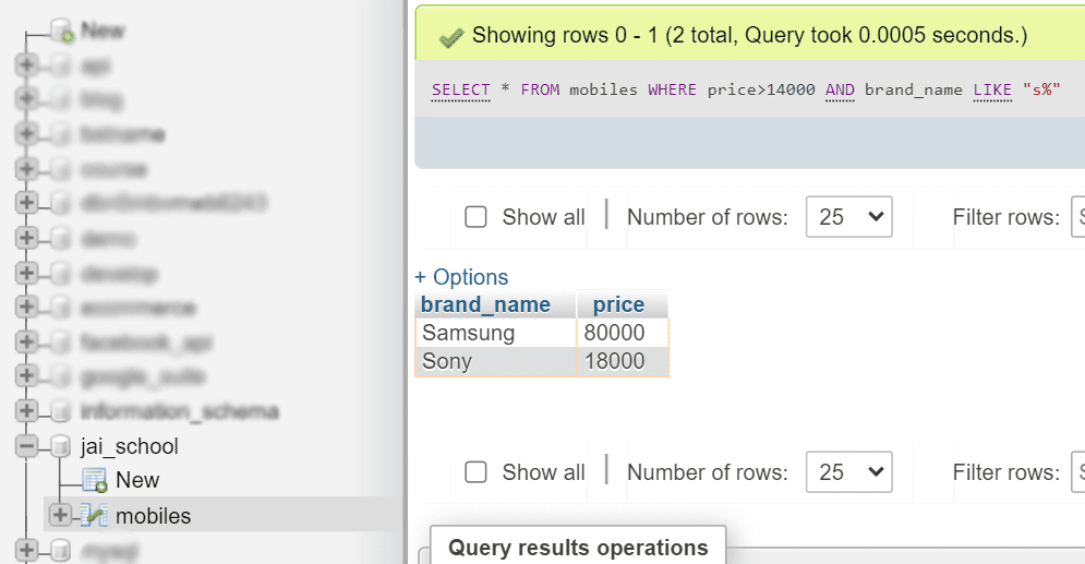 AND and LIKE operator with where